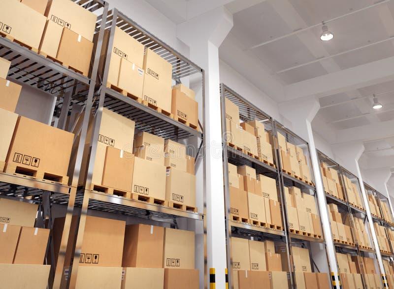 Pakhuis met vele rekken en dozen stock illustratie