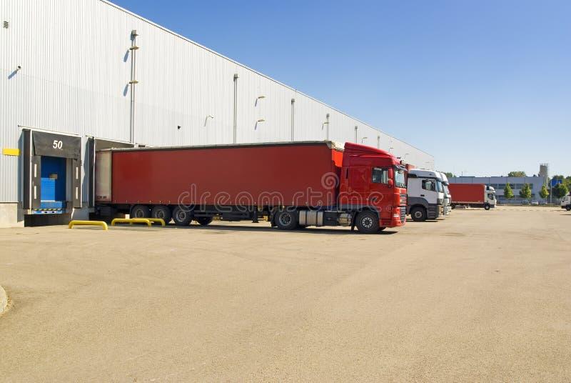 Pakhuis, vrachtwagen, vervoersachtergrond royalty-vrije stock afbeeldingen