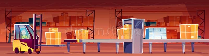 Pakhuisarbeider bij transportband vectorillustratie vector illustratie