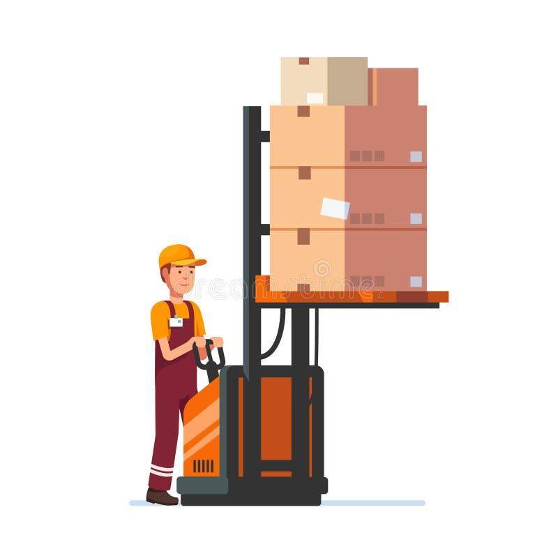 Pakhuisarbeider die elektrisch vorkheftoestel in werking stellen stock illustratie