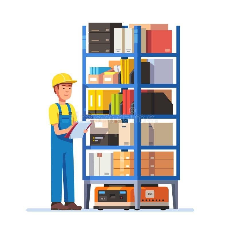 Pakhuisarbeider die Inventaris controleren stock illustratie