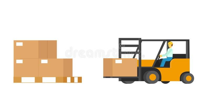 Pakhuisdozen met Menselijke Gedreven Vorkheftruck vector illustratie