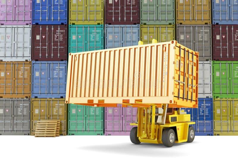 Pakhuislogistiek, het verschepen, verzending en vrachtvervoersconcept stock illustratie