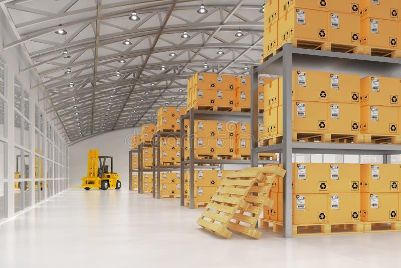 Pakhuislogistiek, pakkettenverzending, levering en ladingsconcept stock illustratie