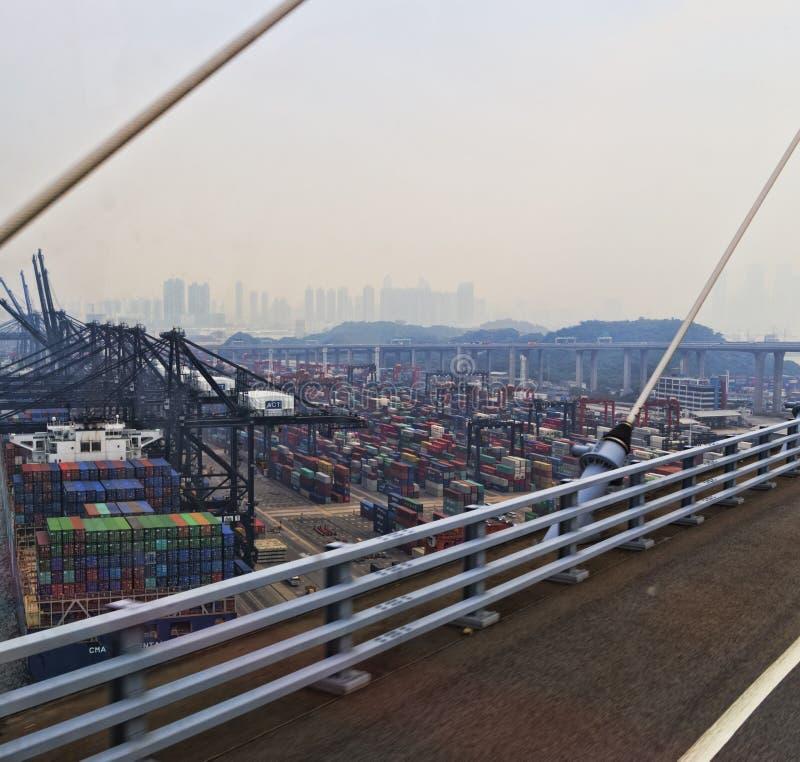pakhuizen voor schepen de haven van Hong Kong royalty-vrije stock foto