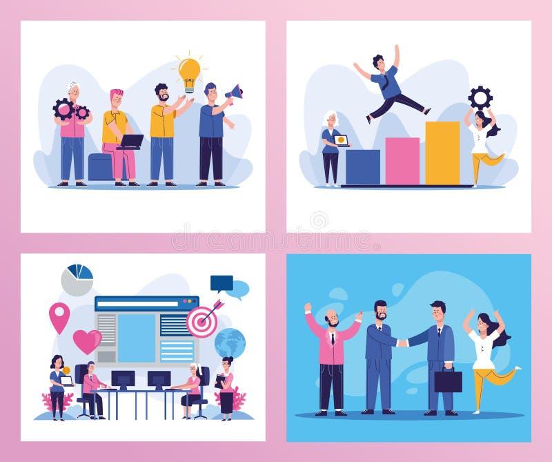 Pakiet eleganckich scen dla osób biznesowych ilustracja wektor