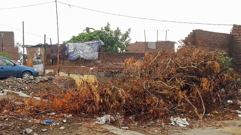 Pakistaans Dorpsweergeven dichtbij Ravi Road stock foto's