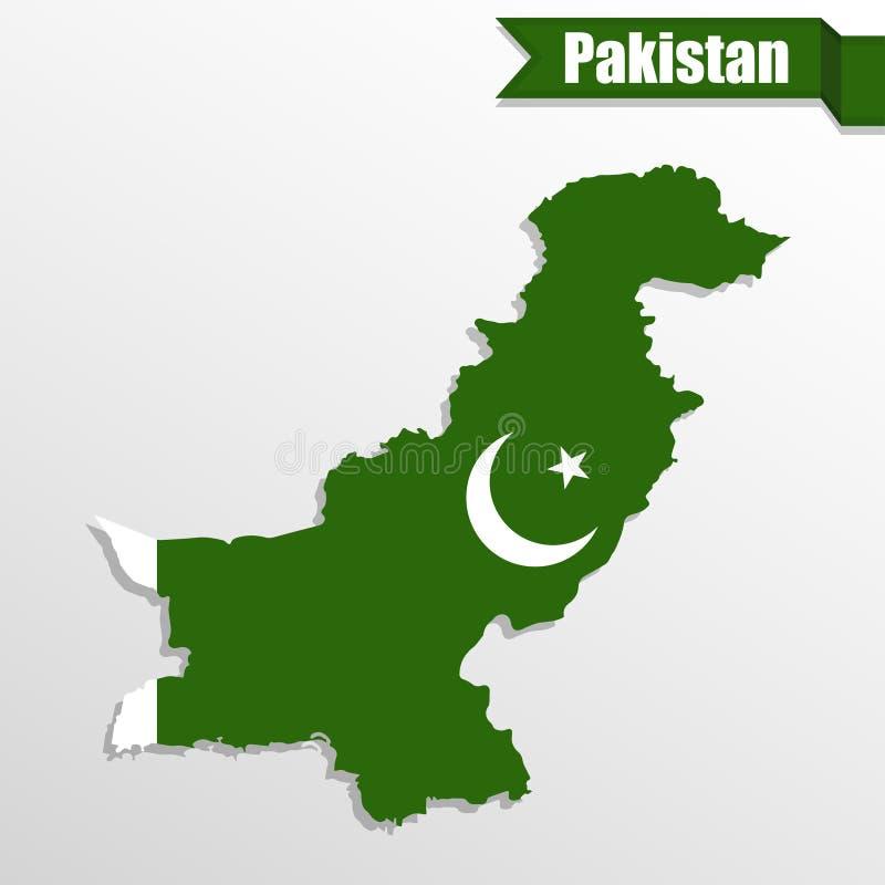 Pakistan översikt med det flaggainsidan och bandet stock illustrationer