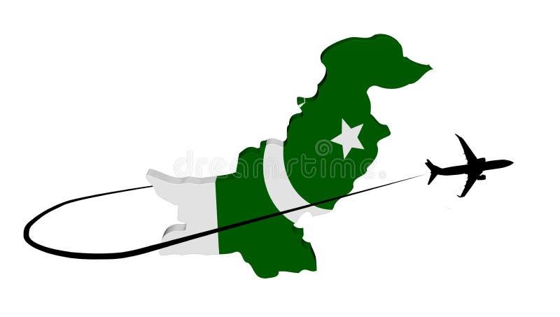 Pakistan översiktsflagga med nivå- och swooshillustrationen stock illustrationer