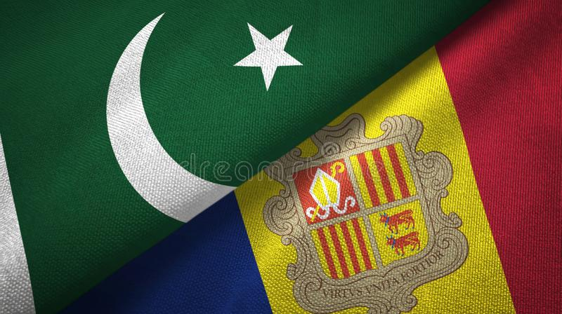 Pakistan and Andorra two flags textile cloth, fabric texture. Pakistan and Andorra two folded flags together royalty free illustration