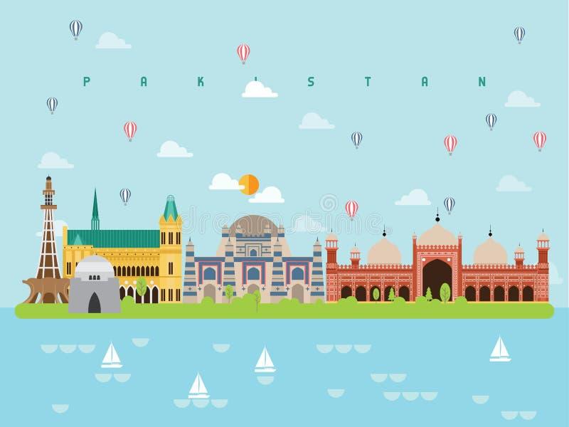 Pakistan berömda gränsmärkeInfographic mallar för att resa och symbolen, vektor för symboluppsättning vektor illustrationer