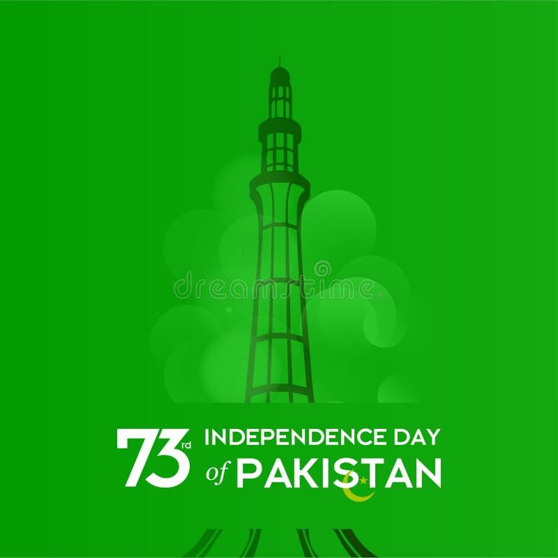 Pakistan dnia niepodległości typografii projekt Kreatywnie typografia 73rd Szczęśliwy dzień niepodległości Pakistan szablonu Wekt ilustracja wektor