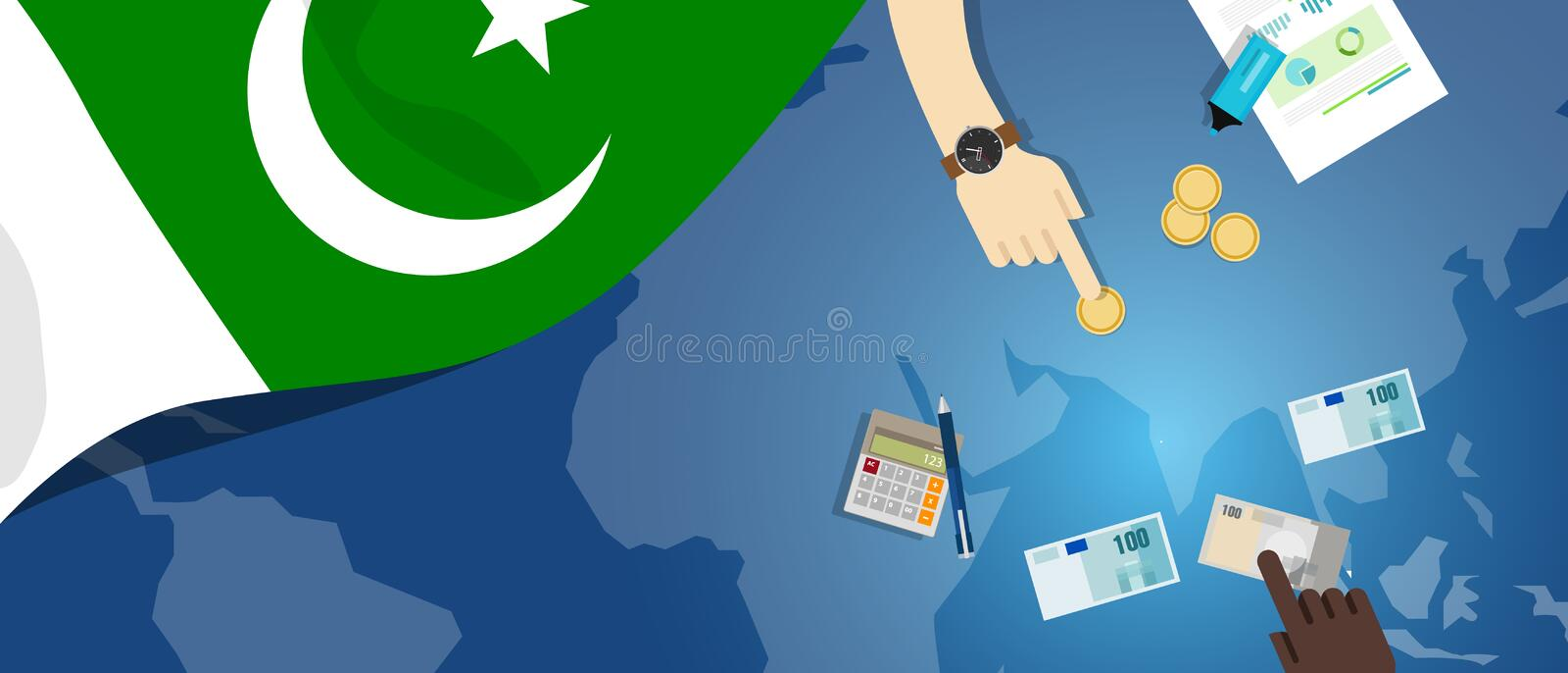 Pakistan fiscal money trade concept illustration of financial banking budget with flag map and currency. Pakistan economy fiscal money trade concept illustration royalty free illustration