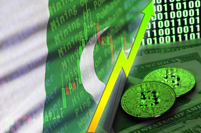 Pakistan flag and cryptocurrency growing trend with two bitcoins on dollar bills and binary code display royalty free stock photography