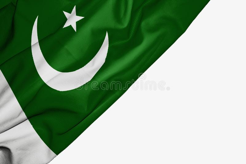 Pakistan flag of fabric with copyspace for your text on white background. Asia banner best capital colorful competition country ensign free freedom glory royalty free illustration