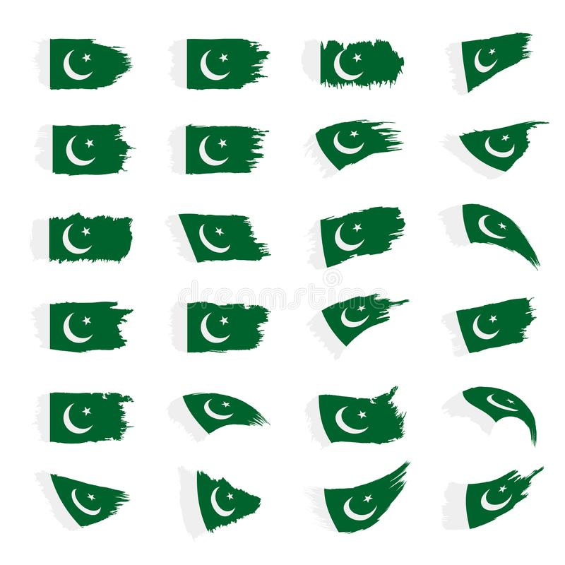 Pakistan flag, vector illustration. On a white background royalty free illustration