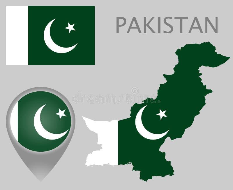 Pakistan flagga, översikt och översiktspekare stock illustrationer