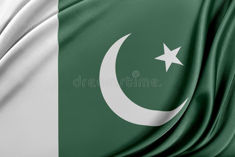 Pakistan flagga med en glansig siden- textur stock illustrationer