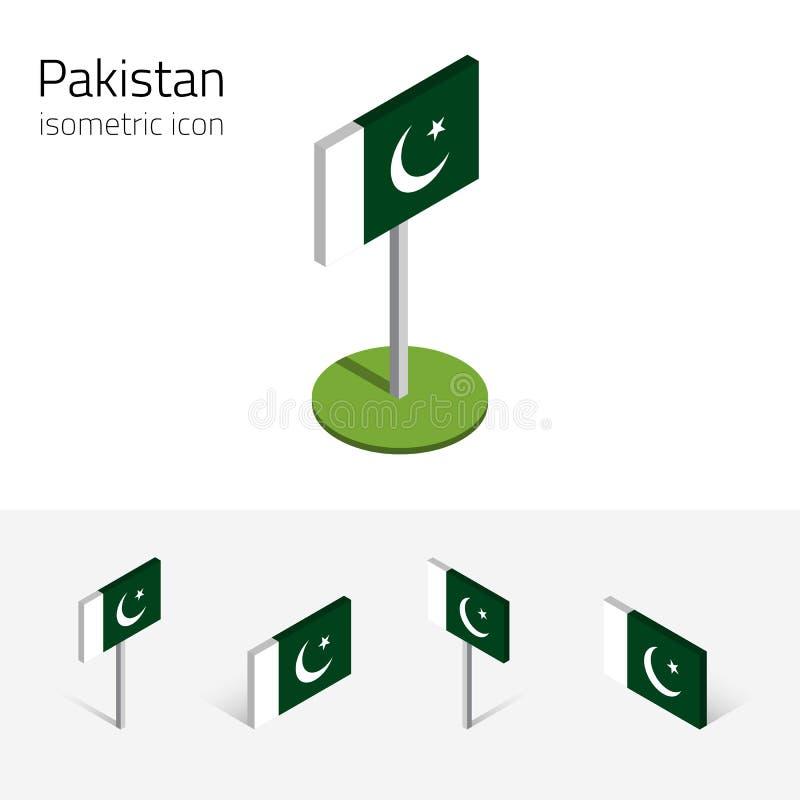 Pakistan flagga, vektoruppsättning av isometriska plana symboler 3D royaltyfri illustrationer
