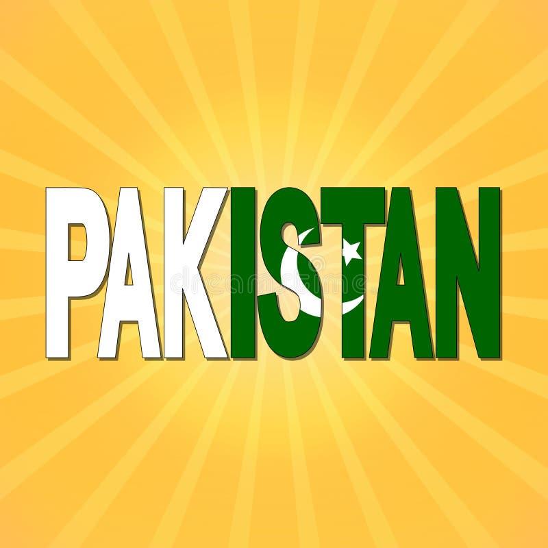 Pakistan flaggatext med sunburstillustrationen vektor illustrationer