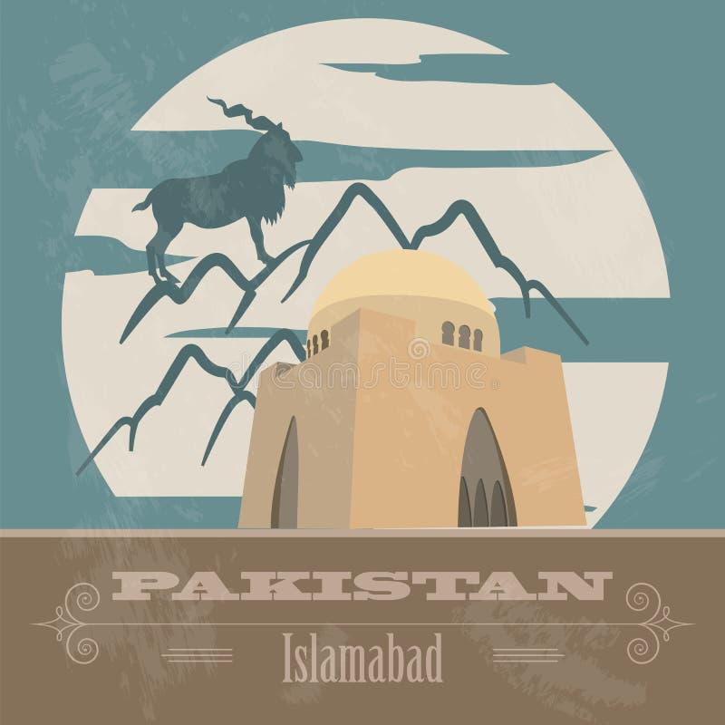 Pakistan gränsmärken Retro utformad bild vektor illustrationer