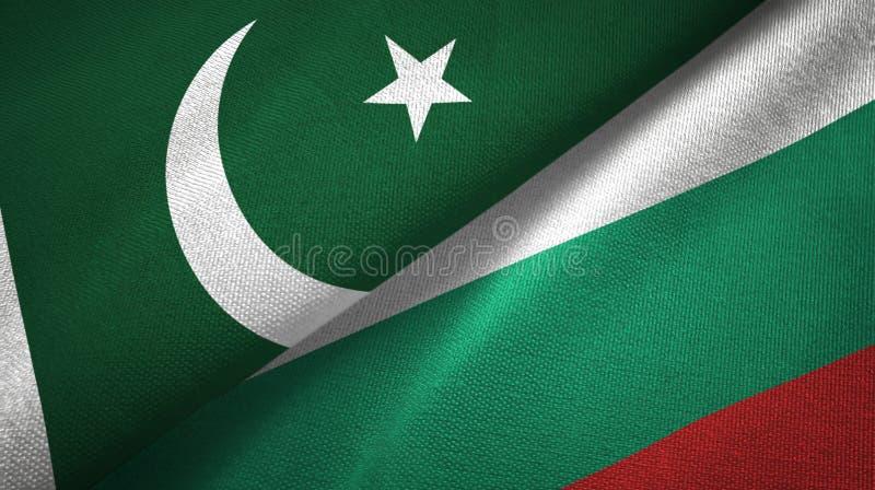 Pakistan i Bułgaria dwa flagi tekstylny płótno, tkaniny tekstura ilustracji