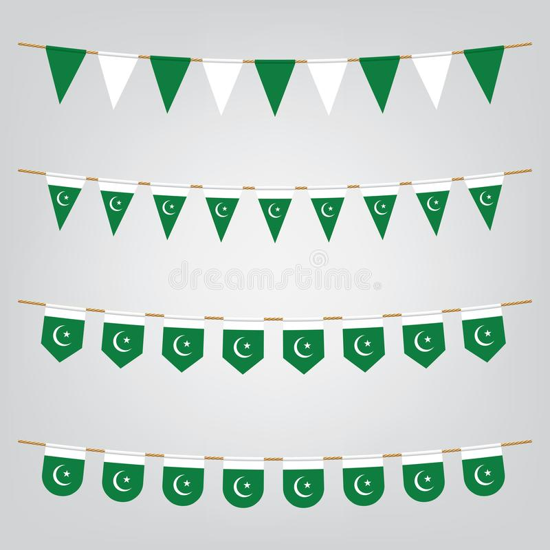 Pakistan Independence day banner with flags bunting. Vector illustration royalty free illustration