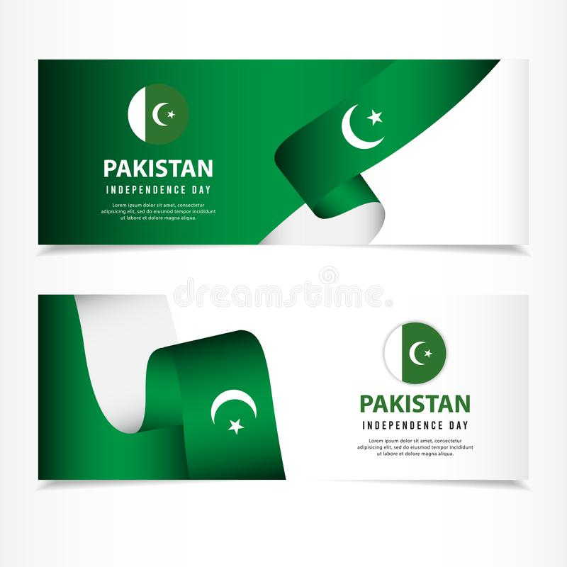 Pakistan Independence Day Celebration, banner set Design Vector Template Illustration. August, 14th, background, flag, green, white, national, star, asia royalty free stock photography