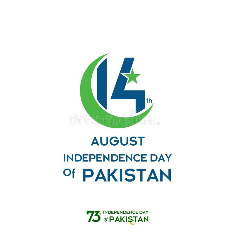 Pakistan Independence Day Typography Design. Creative Typography of 73rd Happy Independence Day of Pakistan Vector Template Design stock illustration