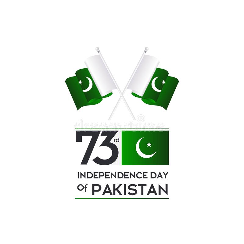Pakistan Independence Day Typography Design. Creative Typography of 73rd Happy Independence Day of Pakistan Vector Template Design royalty free stock image