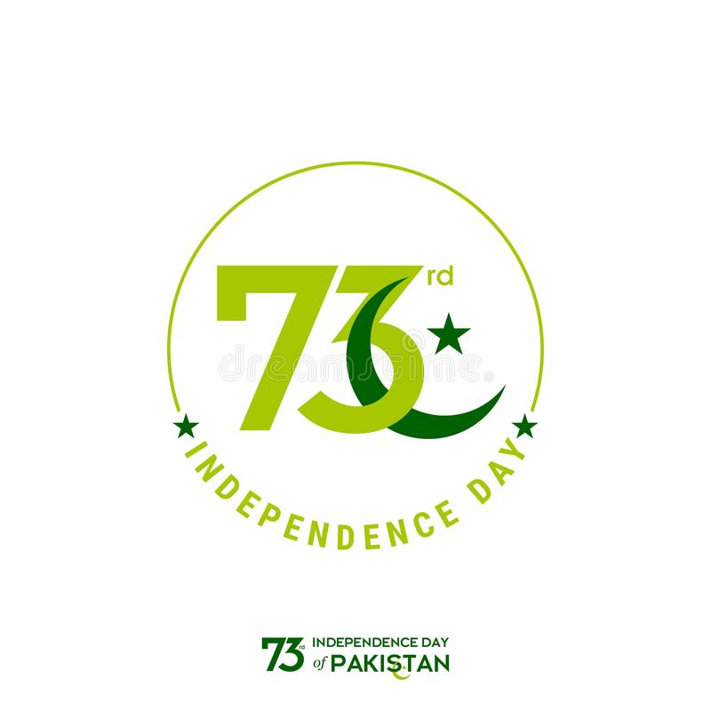 Pakistan Independence Day Typography Design. Creative Typography of 73rd Happy Independence Day of Pakistan Vector Template Design royalty free stock images