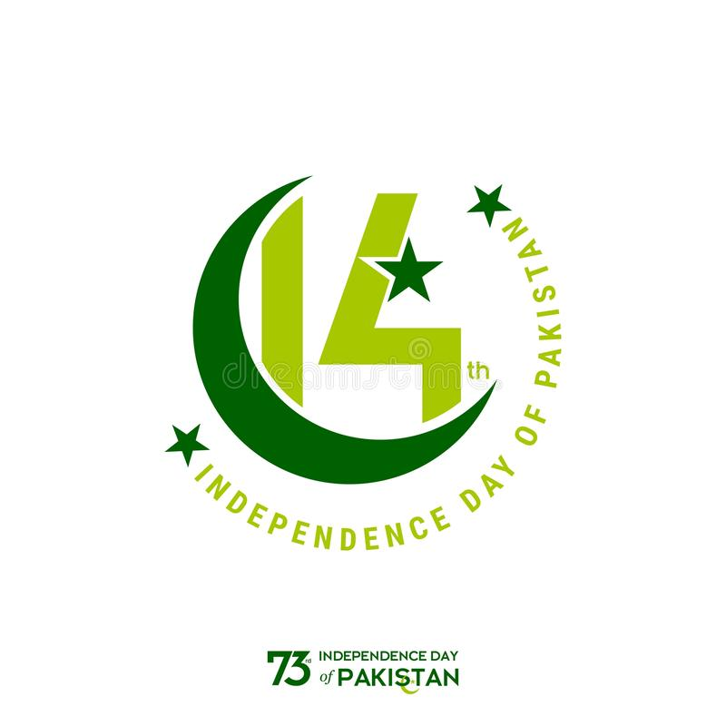 Pakistan Independence Day Typography Design. Creative Typography of 73rd Happy Independence Day of Pakistan Vector Template Design vector illustration