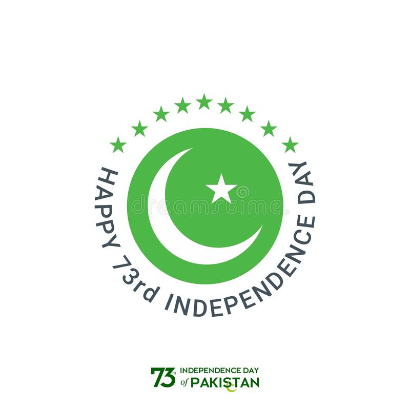 Pakistan Independence Day Typography Design. Creative Typography of 73rd Happy Independence Day of Pakistan Vector Template Design stock photos