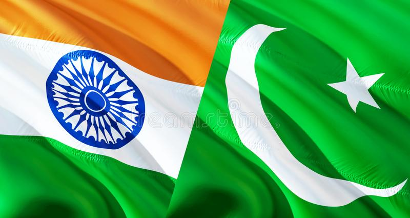 Pakistan and India flags. Waving flag design,3D rendering. Pakistan India flag picture, wallpaper image. Kashmir Indian Indo-. Pakistani war and conflict. Delhi stock photography