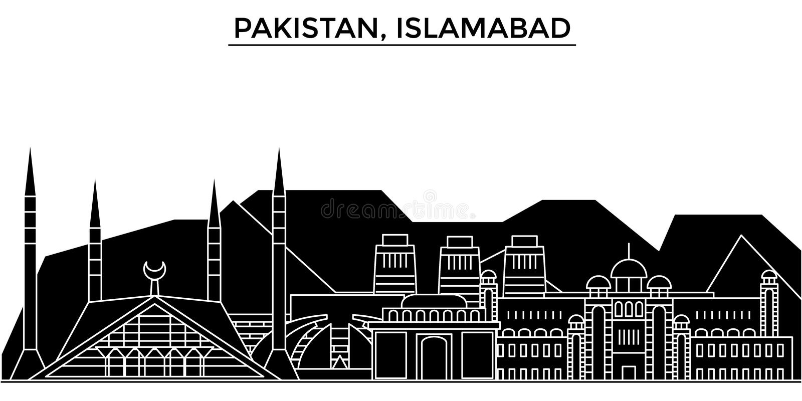 Pakistan, Islamabad architecture vector city skyline, travel cityscape with landmarks, buildings, isolated sights on. Pakistan, Islamabad architecture vector royalty free illustration