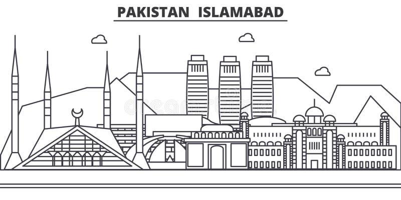 Pakistan, Islamabad architektury linii linii horyzontu ilustracja Liniowy wektorowy pejzaż miejski z sławnymi punktami zwrotnymi, ilustracji