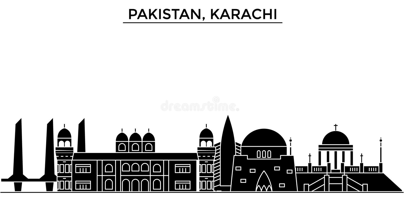 Pakistan, Karachi architecture vector city skyline, travel cityscape with landmarks, buildings, sights on. Pakistan, Karachi architecture vector city skyline vector illustration