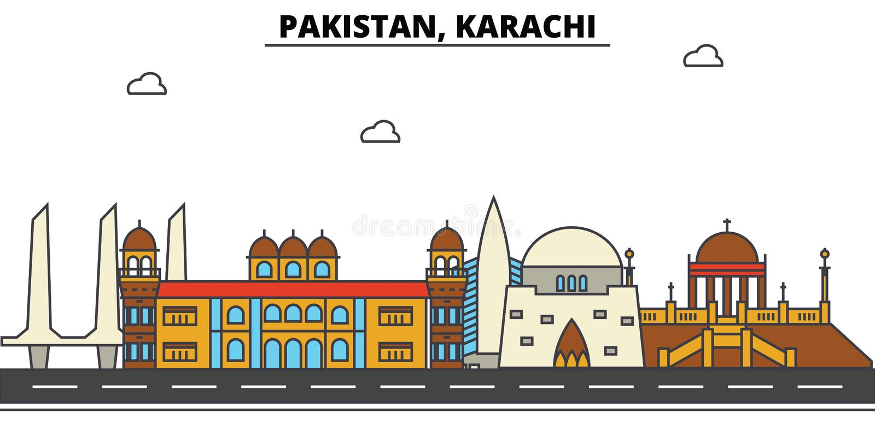 Pakistan, Karachi. City skyline architecture . Editable. Pakistan, Karachi. City skyline architecture, buildings, streets, silhouette, landscape, panorama royalty free illustration