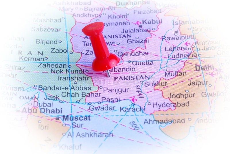 Pakistan in map. Macro shot of pakistan map with push pin royalty free stock images