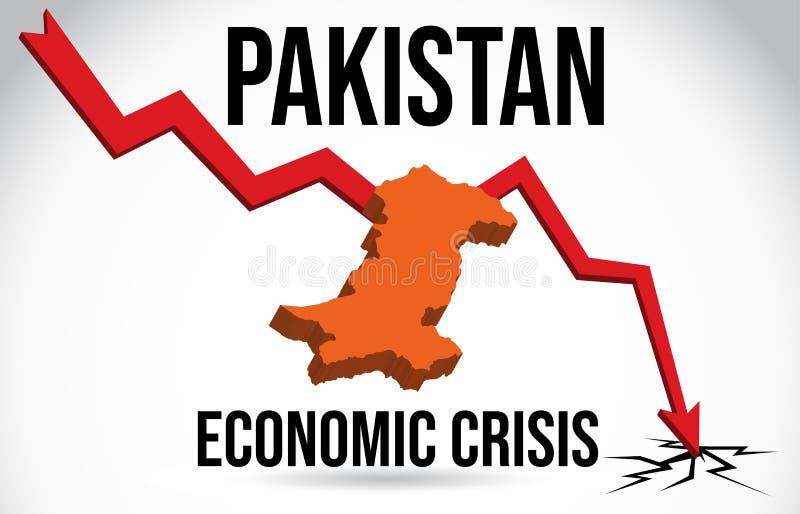 Pakistan Map Financial Crisis Economic Collapse Market Crash Global Meltdown Vector. Illustration royalty free illustration