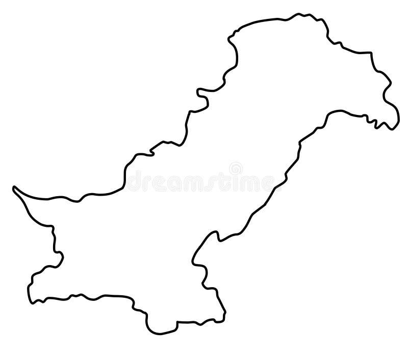 Pakistan map outline vector illustration stock illustration