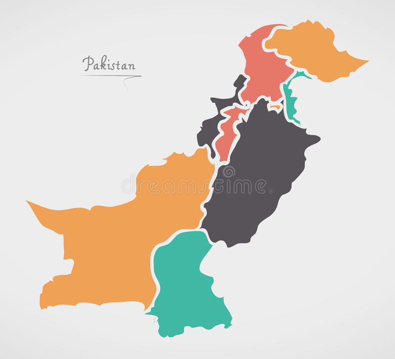 Pakistan Map with states and modern round shapes. Illustration stock illustration