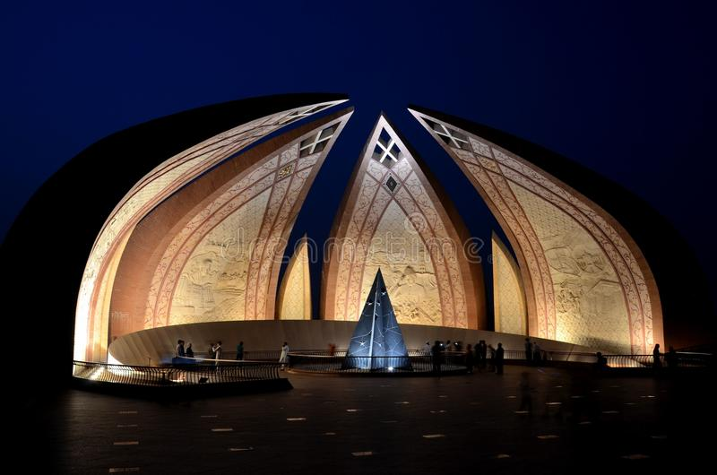 Pakistan Monument illuminated at night Islamabad Pakistan stock images