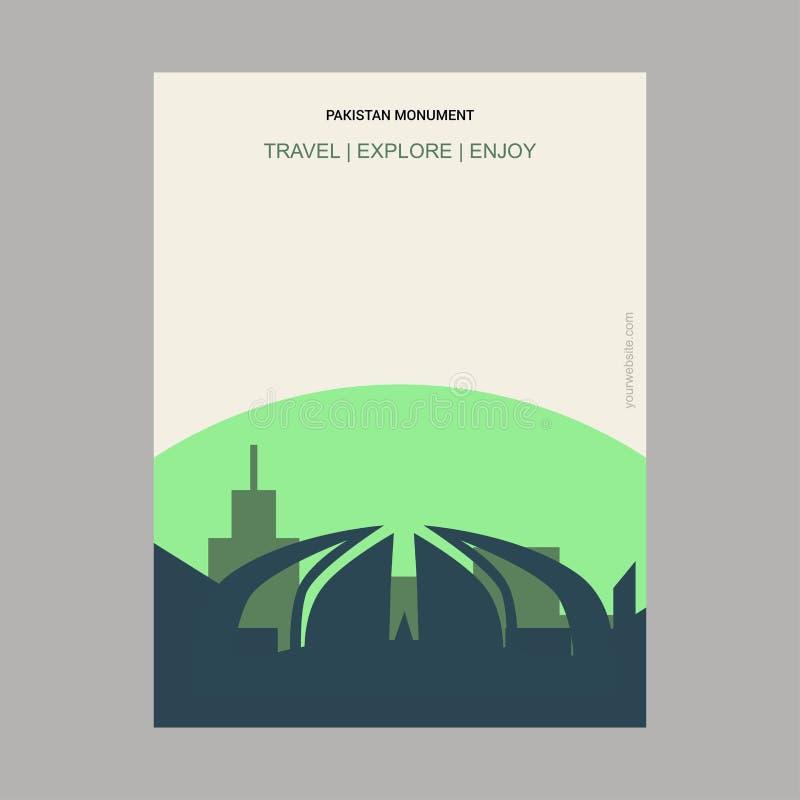 Pakistan Monument Islamabad, Pakistan Vintage Style Landmark Poster Template. This Vector EPS 10 illustration is best for print media, web design, application stock illustration
