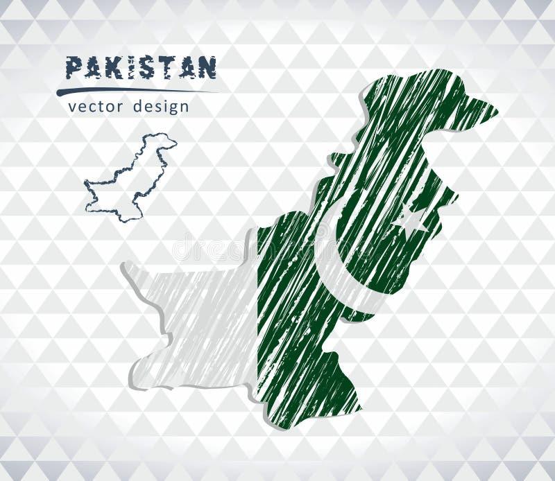 Pakistan national vector map with sketch chalk flag. Sketch chalk hand drawn illustration royalty free illustration