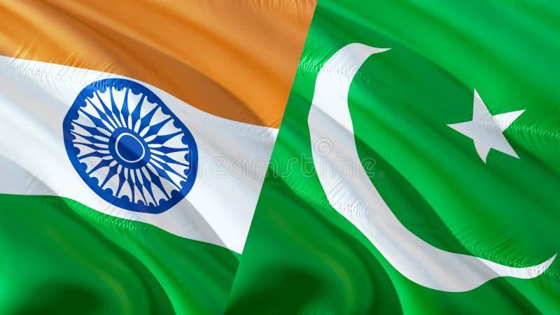 Pakistan och Indien flaggor Vinkande flaggadesign, tolkning 3D Pakistan Indien flaggabild, tapetbild Kashmir indier Indo- royaltyfri fotografi