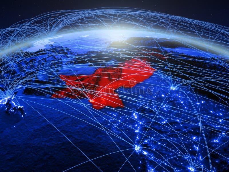 Pakistan op blauwe digitale aarde met internationaal netwerk die mededeling, reis en verbindingen vertegenwoordigen 3d royalty-vrije stock foto's