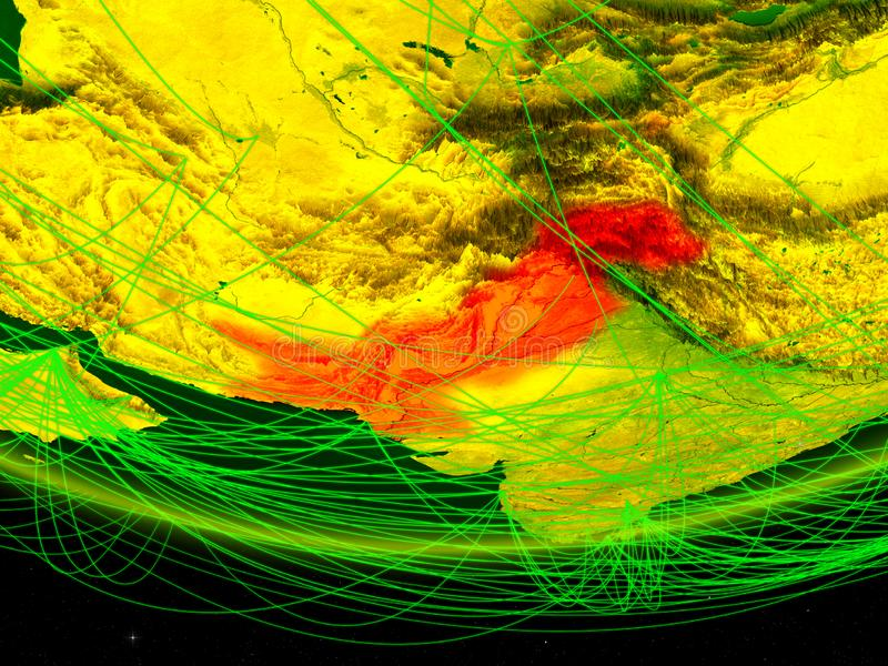 Pakistan op groen model van aarde met netwerk die digitaal tijdperk, reis en mededeling vertegenwoordigen 3D Illustratie elemente stock foto's