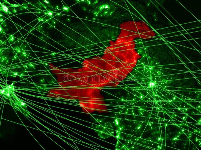 Pakistan på grön översikt arkivfoto