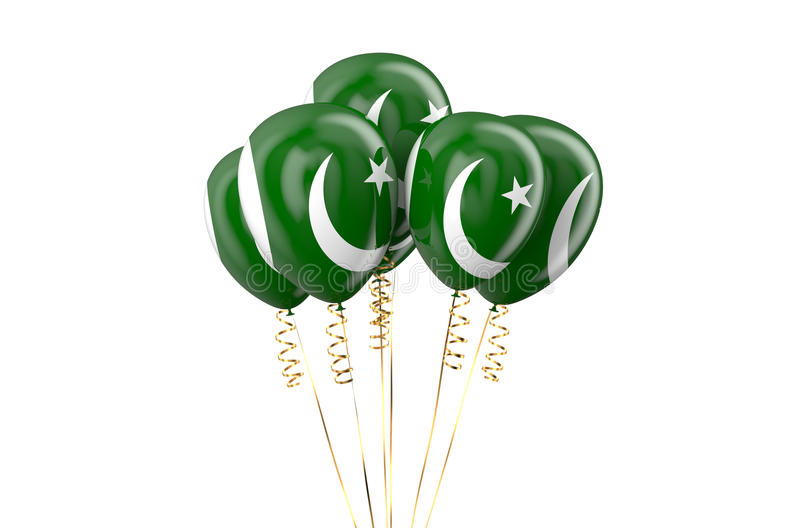 Pakistan patriotic balloons holyday concept. Pakistan patriotic balloons, holyday concept isolated on white background royalty free illustration